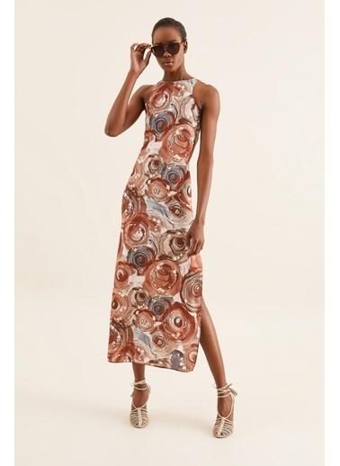 Quincey Halter Yaka Yırtmaçlı Elbise Renkli